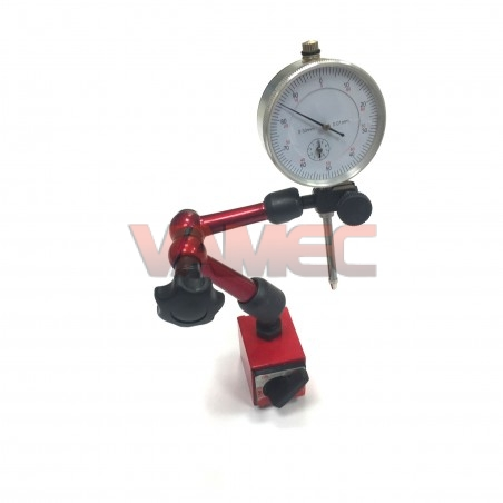 Swivel magnetic base with dial gauge
